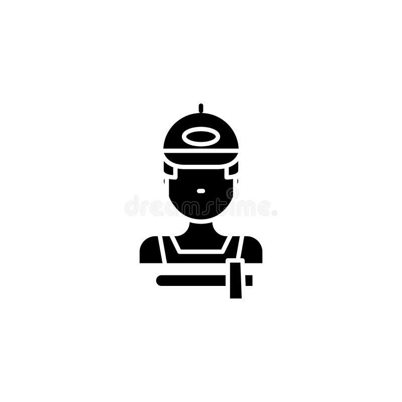 Awaria mechanika czerni ikony pojęcie Awaria mechanika płaski wektorowy symbol, znak, ilustracja ilustracja wektor