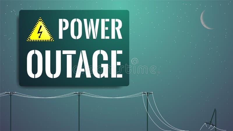 Awarii enrgetycznej pojęcie Zaciemnienie ilustracja Łamany linia energetyczna słup ilustracji