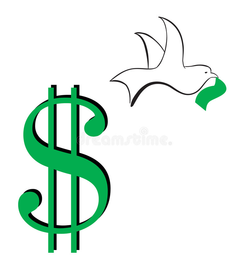 away dollarflygtecken stock illustrationer