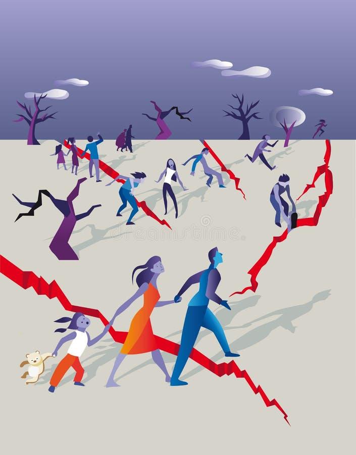 away jordskalvfolkrunning stock illustrationer