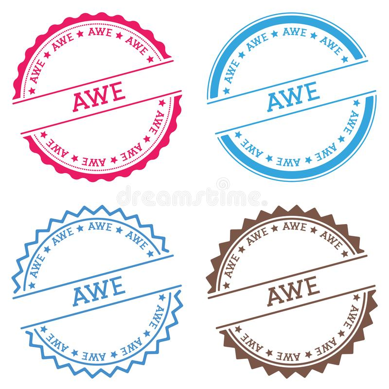 AWE badge isolated on white background. Flat style round label with text. Circular emblem vector illustration royalty free illustration