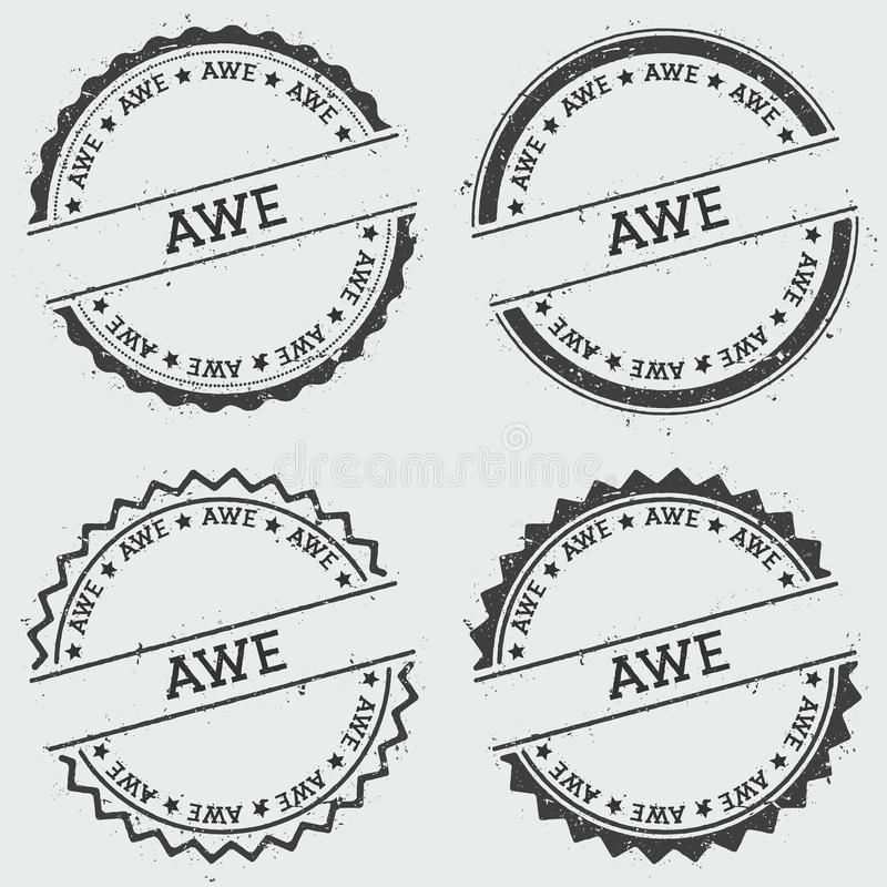 AWE insignia stamp isolated on white background. Grunge round hipster seal with text, ink texture and splatter and blots, vector illustration royalty free illustration