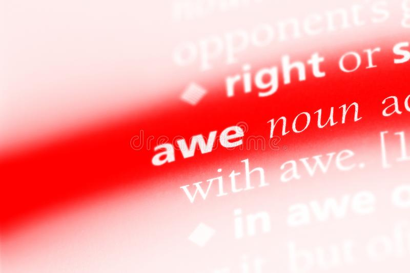Awe. Word in a dictionary.  concept stock image