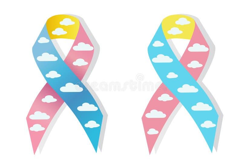 Awereness da fita cor-de-rosa e azul da nuvem ilustração royalty free