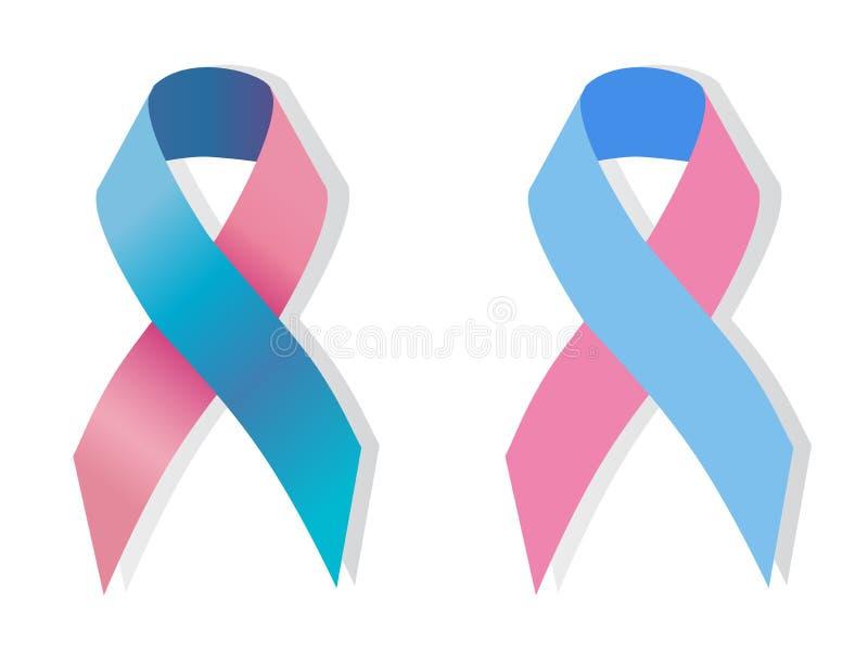 Awereness de la cinta rosada y azul ilustración del vector