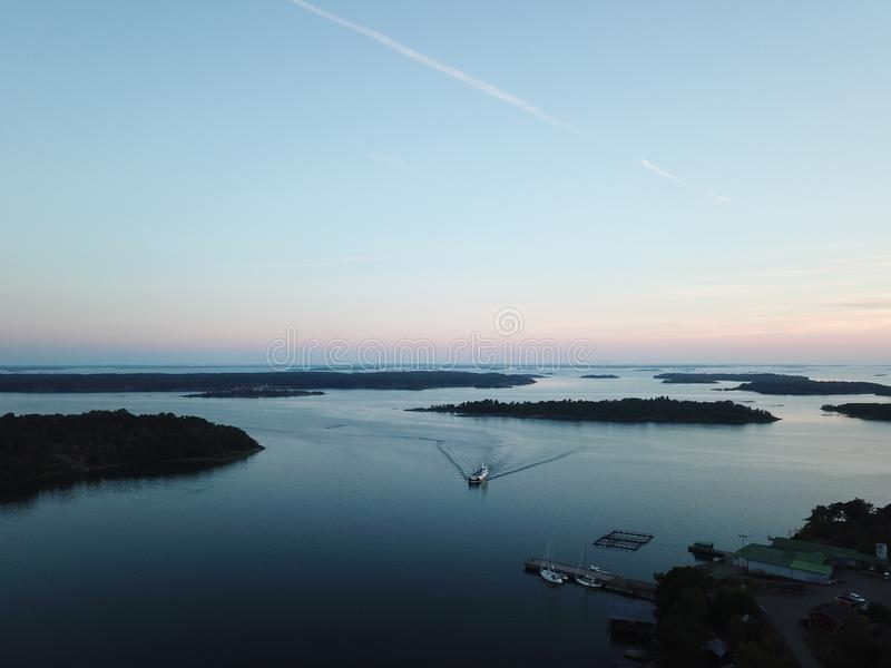 awesome sunset in archipelago by drones poin of view the gulf of Finland stock photo