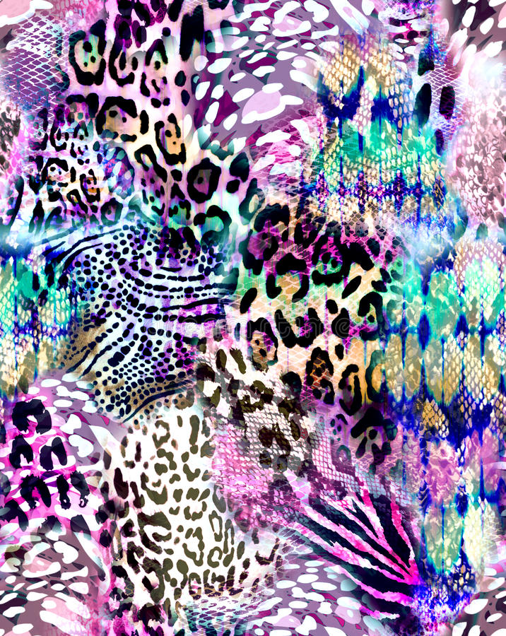 Awesome animal mix print - seamless background. Seamless animal print mix fashion print royalty free illustration