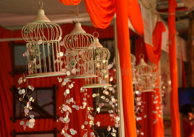 Awesome art piece. Designer craft in Lucknow Book Fair Indian theme cage or wind chime or chandillier stock images