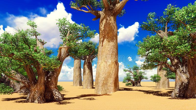 Awesome baobabs in African savannah 3d rendering stock illustration