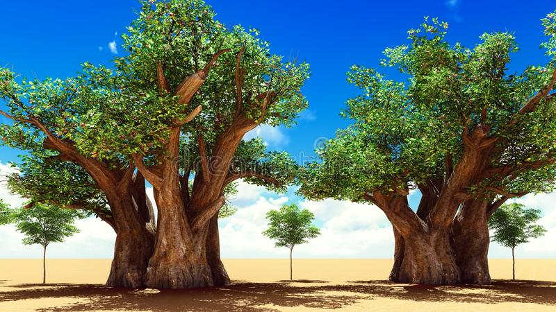 Awesome baobabs in African savannah 3d rendering royalty free illustration