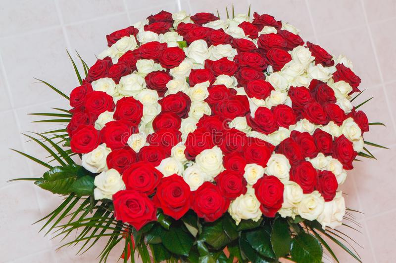 Awesome big bouquet of fresh red and white roses for Valentine`s day, March 8, Birthday etc. Love and romantic. Wonderful and very big bouquet of fresh red and stock image