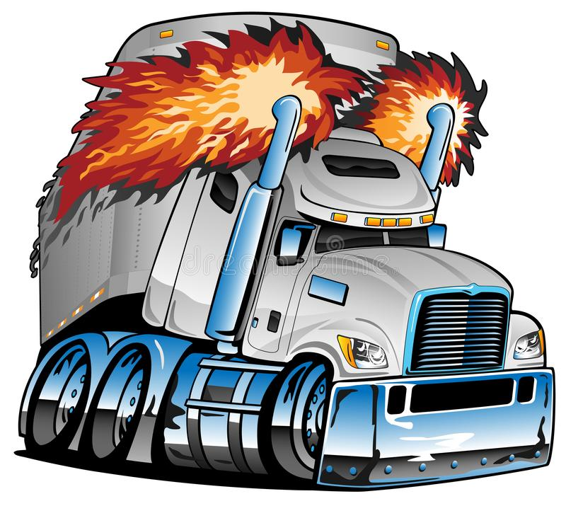 Semi Truck Tractor Trailer Big Rig, White, Flaming Exhaust, Lots of Chrome, Cartoon Isolated Vector Illustration. Awesome big rig diesel tractor trailer cartoon royalty free illustration