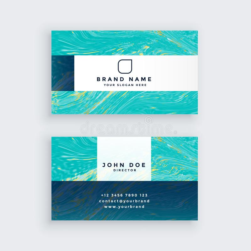 Awesome blue professional marble business card template. Vector stock illustration