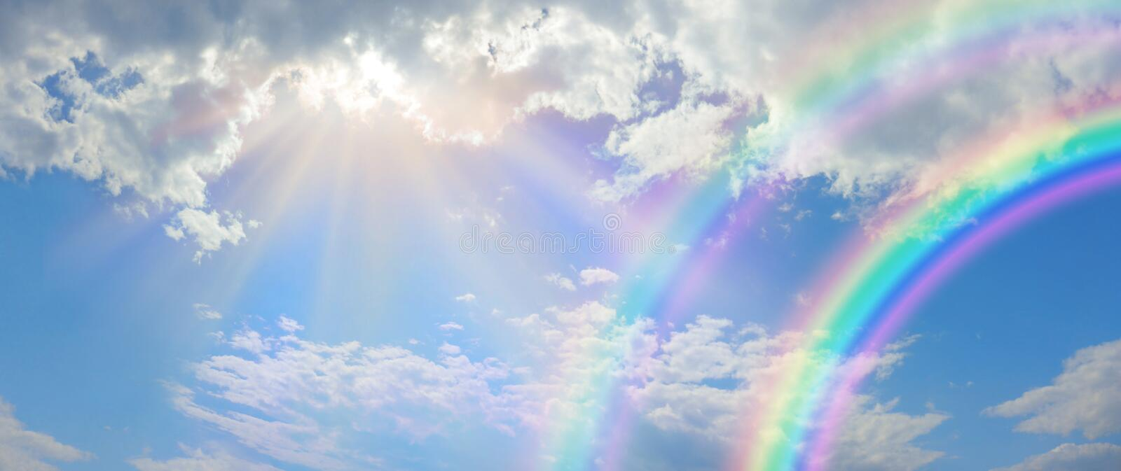 Beautiful vibrant double rainbow Cloudscape Background royalty free stock photos
