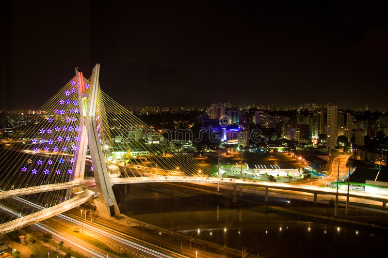 Pinheiros River Bridge at night royalty free stock images