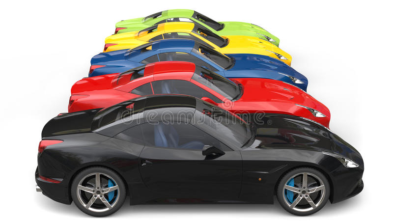 Awesome colorful sports cars in a row - side view. Isolated on white background vector illustration
