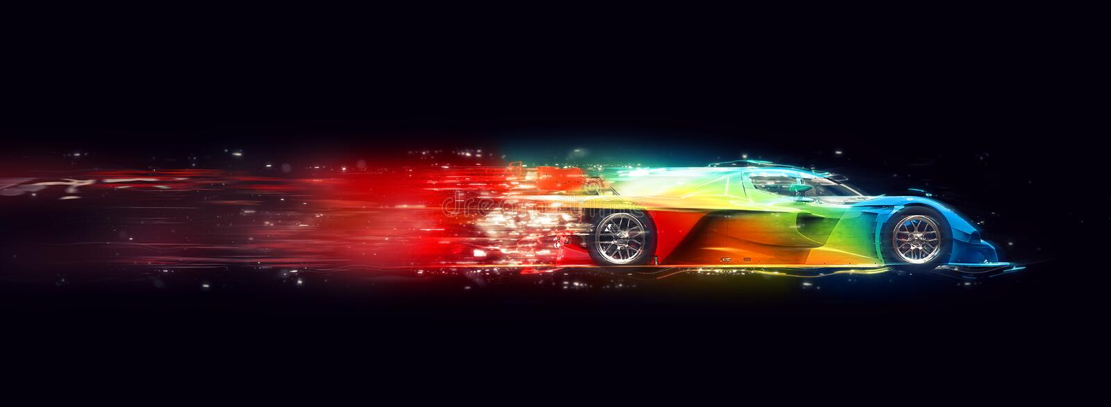 Awesome colorful super fast race car - cosmic trails effect. Isolated on black background vector illustration