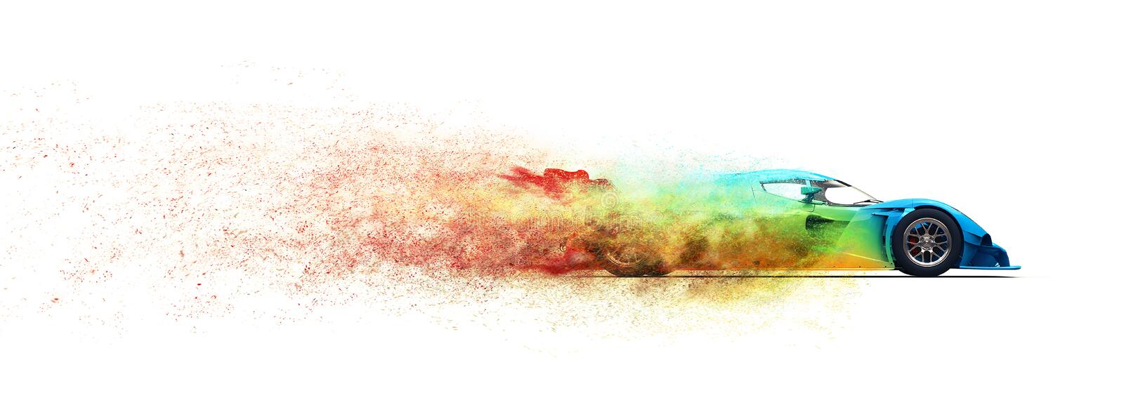 Awesome colorful super fast race car - particle disintegration effect. Isolated on white background vector illustration