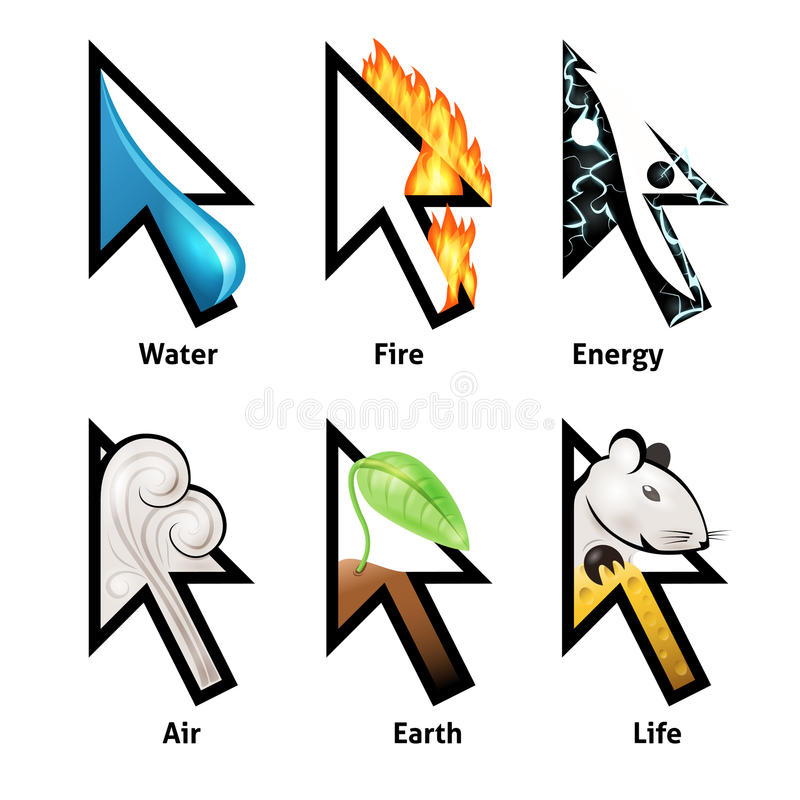 Download Awesome Cursor Set With Elements Of Life Royalty Free Stock Photography - Image: 34306797