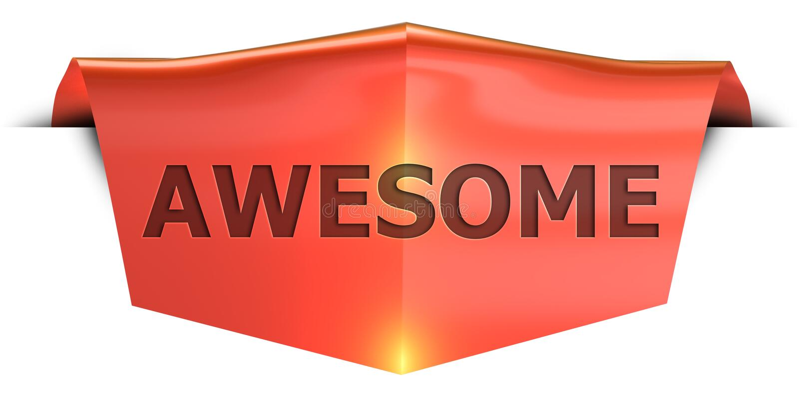 Banner awesome. Awesome 3D rendered red banner , isolated on white background stock illustration