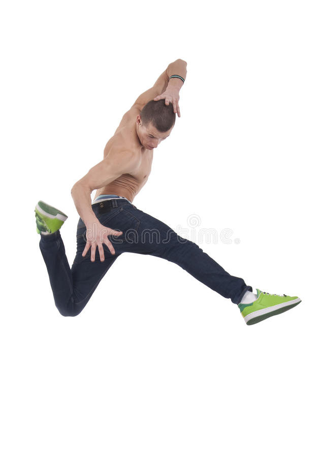 Awesome dancer is jumping very high royalty free stock photo
