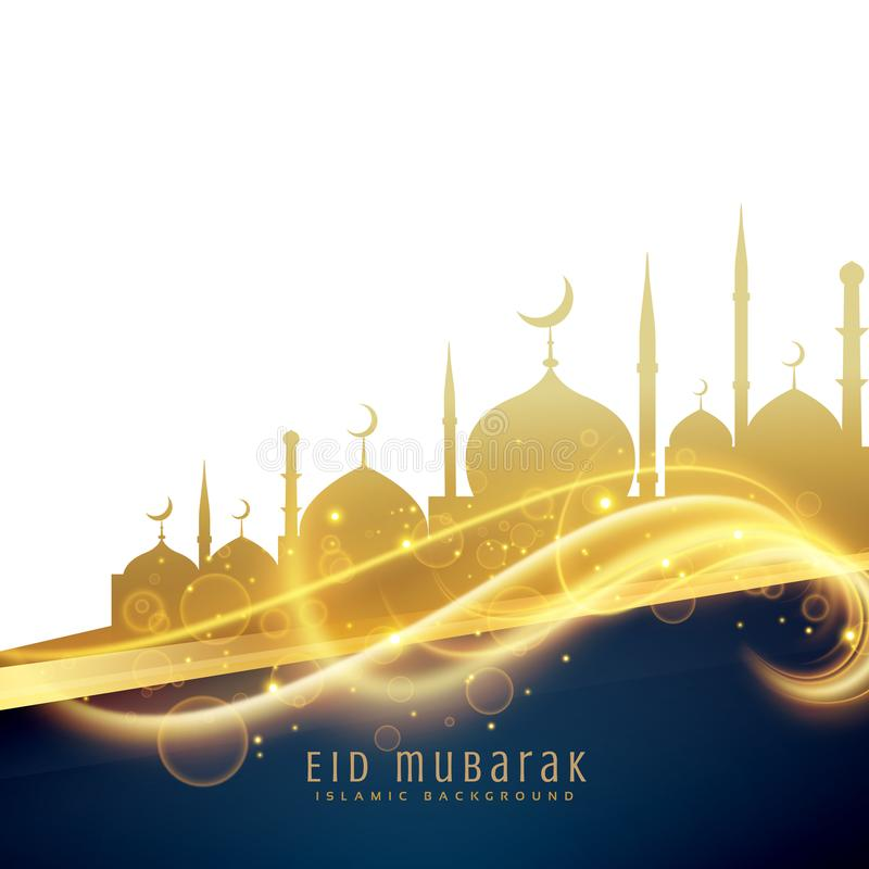 awesome eid festival greeting design with golden mosque and light glitter vector illustration