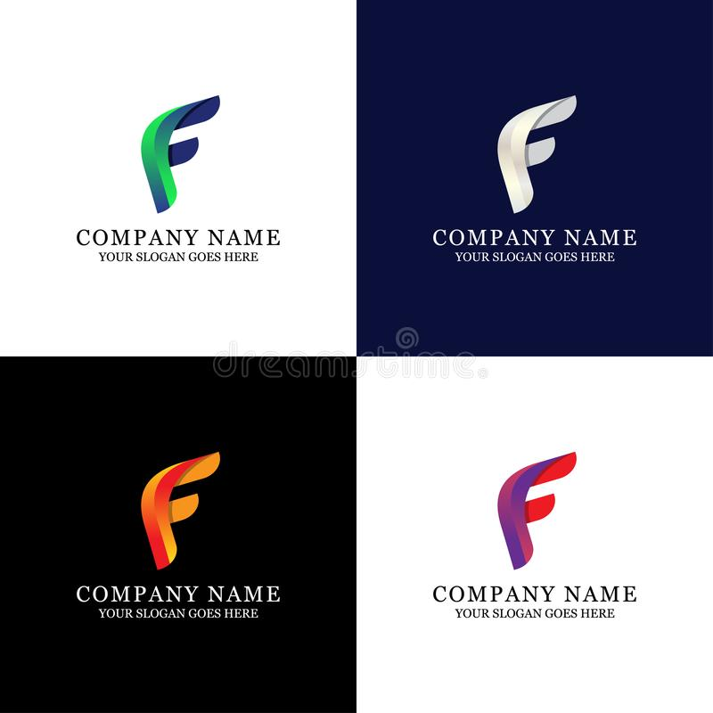 Awesome F Letter Logo Design - Modern Initial Vector for Gradient color vector illustration