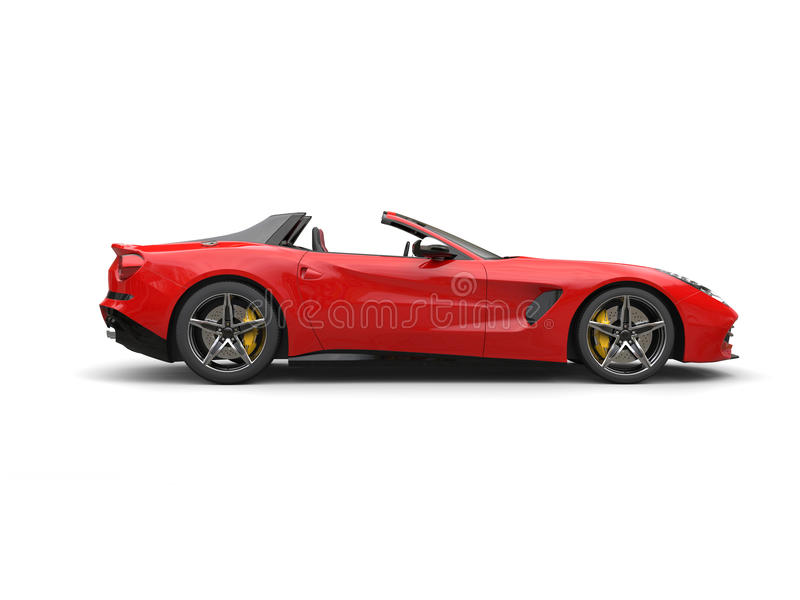 Awesome Fire Red Modern Cabriolet Sports Car   Side View   Isolated On  White Background
