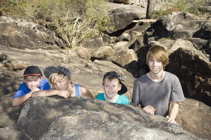 Awesome fun for Kids in the Outdoors of Australia. stock photo
