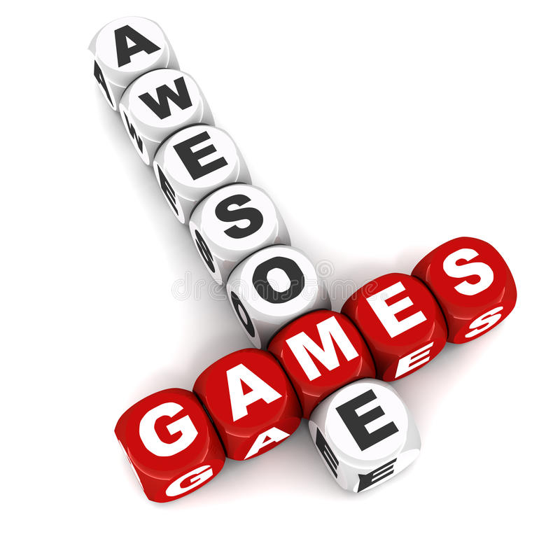Awesome games. Words in a crossword formation, concept of games and fun royalty free illustration