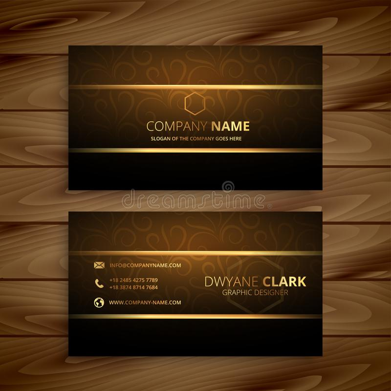 Awesome golden business card design vector illustration