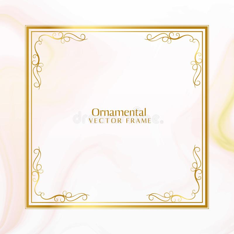 Awesome golden ornamental frame design stock illustration