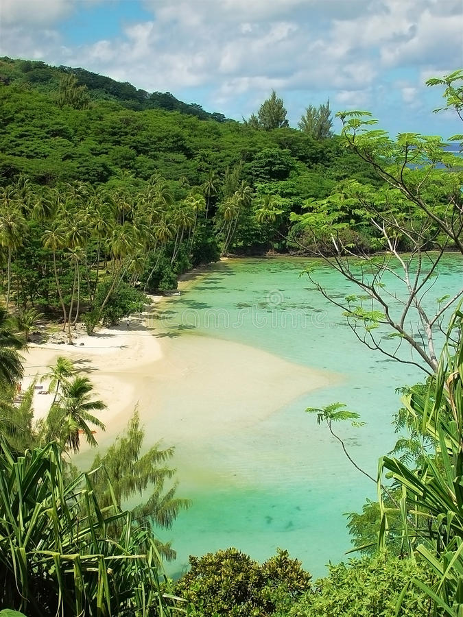 Awesome hidden polynesian beach. A wonderful beach in a polynesian isle royalty free stock photos