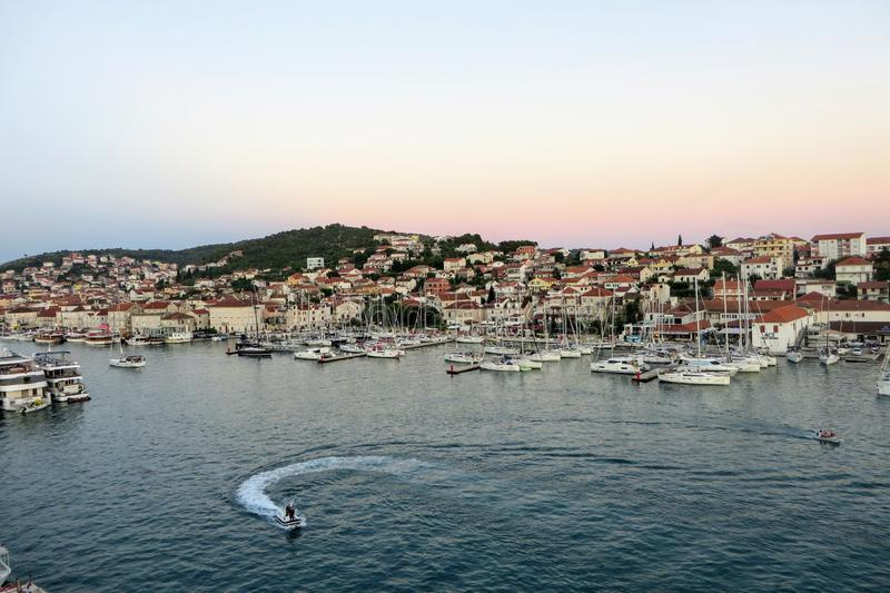 An awesome and interesting full view of the town of Trogir, outside of Split, Croatia on a beautiful summer evening. royalty free stock photos