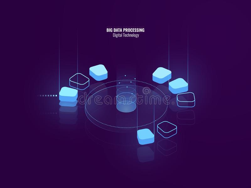 Awesome isometric banner of digital technology, isometric abstract icon of big data processing, conceptual cloud storage vector illustration