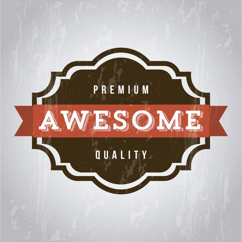 Awesome label. Over gray background. vector illustration stock illustration
