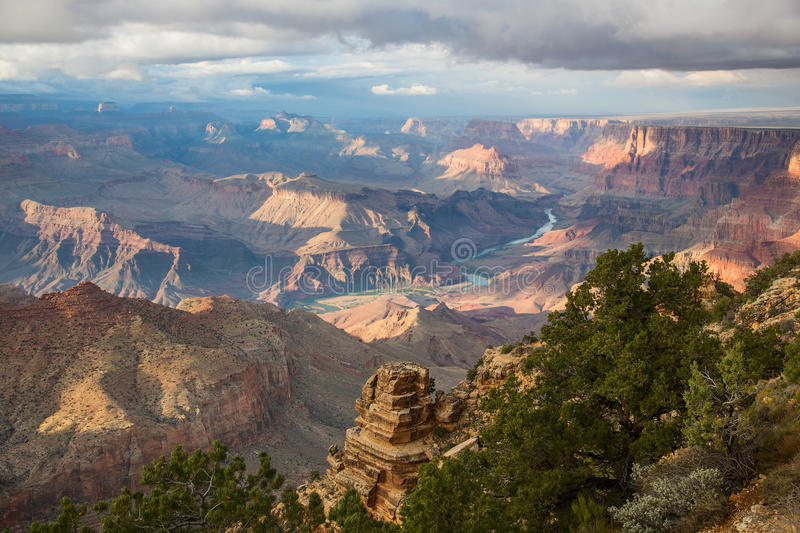 Awesome Landscape of Grand Canyon with the Colorado River visible during dusk. Arizona US stock photos