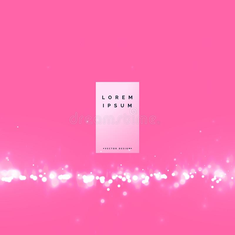 awesome pink bokeh background with particle effect stock illustration