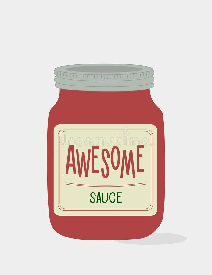 Awesome sauce. Illustrative poster. Illustration. A jar filled with awesome sauce royalty free illustration