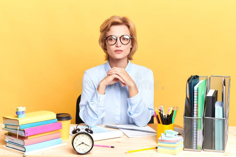 Awesome secretary having a rest during working day royalty free stock image