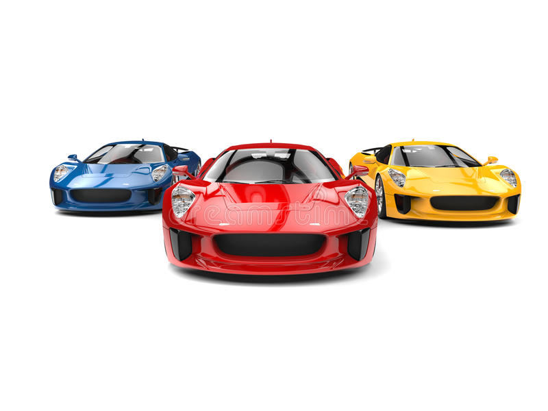 Awesome sports cars - racing - red one leading the race. Isolated on white background vector illustration