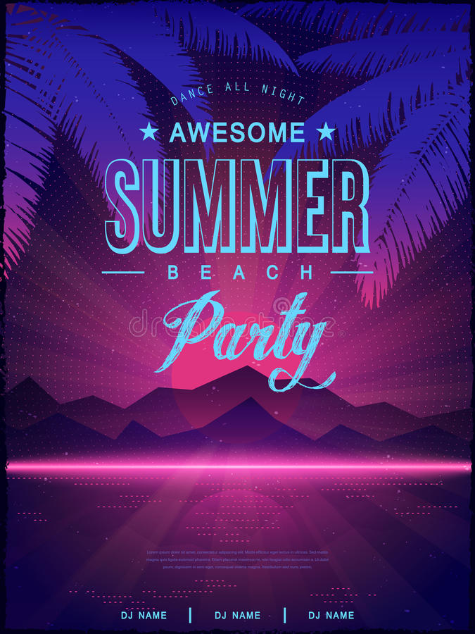 Awesome summer beach party poster design royalty free illustration
