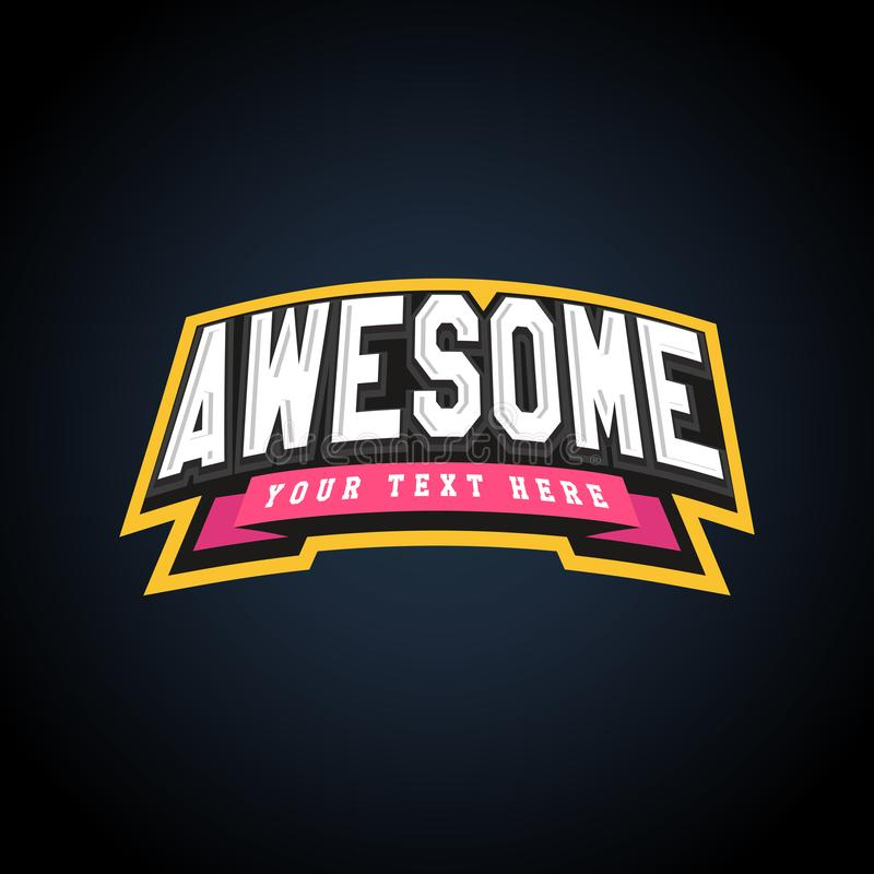 Awesome text power full typography, t-shirt graphics, s. Amazing sport retro emblem stock illustration