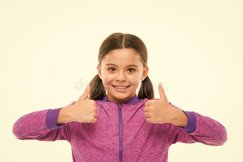 This is awesome. Thumbs up approvement. Girl cute child show thumbs up gesture. Gifts your teens will totally love. Kid royalty free stock image