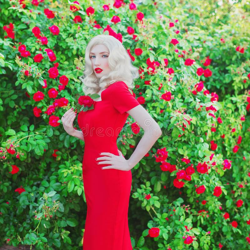 Awesome Valentines Day background. Young slim retro girl with red lips in stylish dress in beautiful summer roses garden. stock image