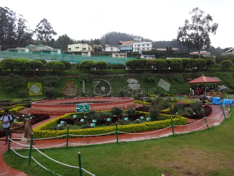 Awesome view botanical garden ooty, india. This snap is from botanical rose garden ooty, india. Awesome view of all flowers that you may love royalty free stock photos