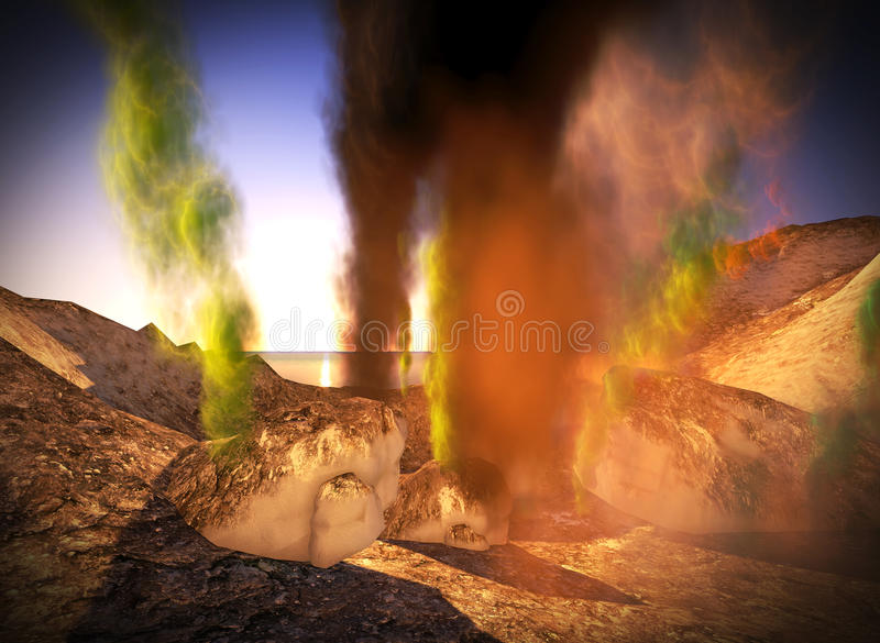 Awesome volcanic eruption on island vector illustration