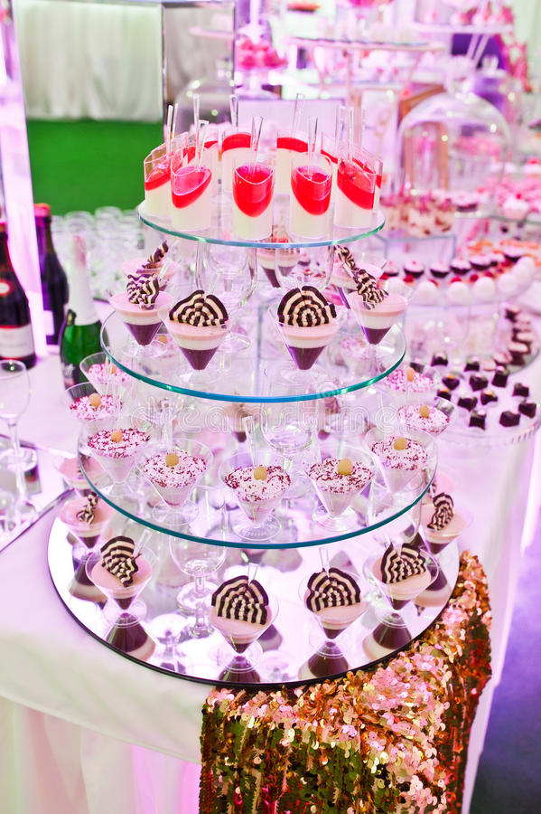 Awesome wedding reception of food and drink. With various pink light royalty free stock photography