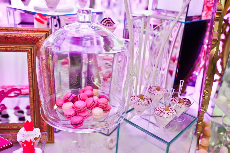 Awesome wedding reception of food and drink. With various pink light, macaroon stock photography