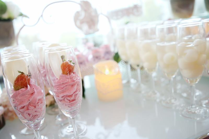 Wedding reception. Awesome wedding reception of food and drink royalty free stock images
